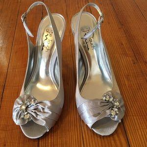 Nina Silver Satin Peep Toe Heels Rhinestones Shoes
